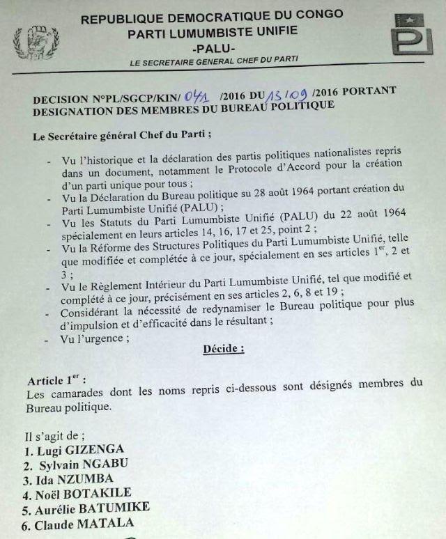 Willy Makiashi exclu du bureau politique du PALU