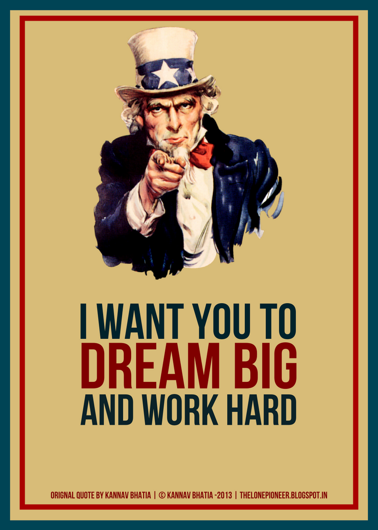 Uncle sam workhard A3 Free Poster by kannavbhatia