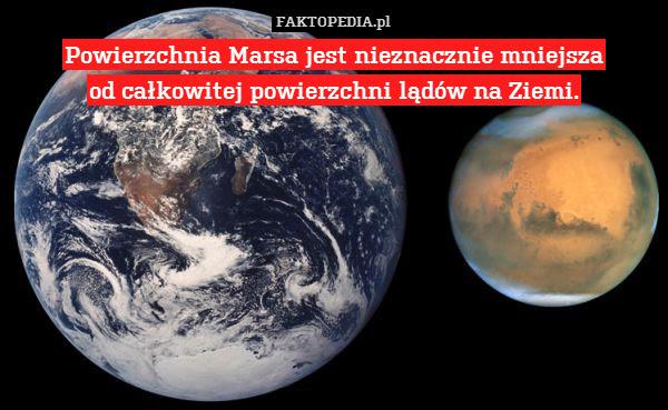 Powierzchnia Marsa jest nieznacznie – Powierzchnia Marsa jest nieznacznie mniejsza od całkowitej powierzchni lądów na Ziemi.