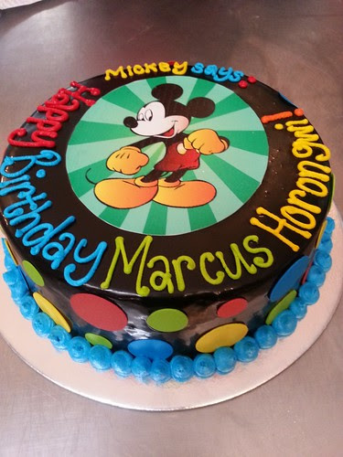 Mickey Mouse Edible Photo Cake On Ganache Icing With Polka Dots On