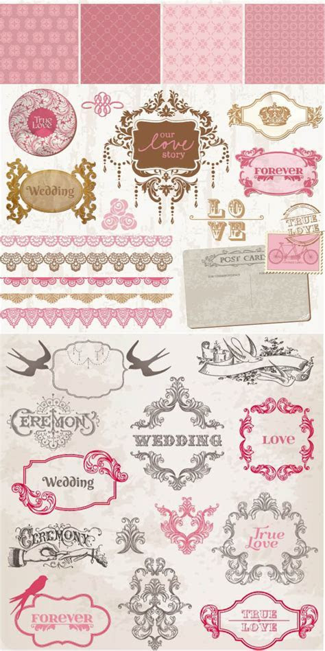 Wedding decorative frames and borders vector free download