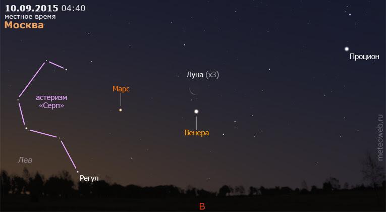 Венера, Марс и убывающая Луна на утреннем небе Москвы 10 сентября 2015 г.
