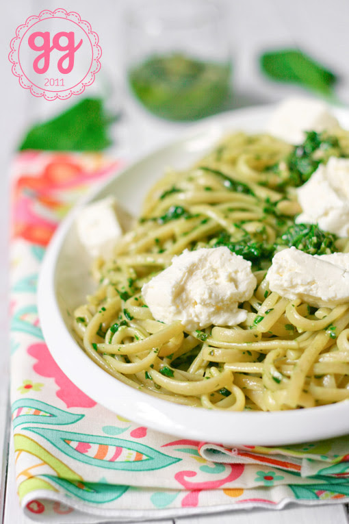 linguine al pesto di lattuga e spinacini