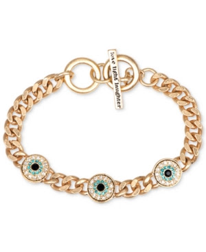 Rachel Rachel Roy Gold-Tone Evil Eye Charm Curb Chain Toggle Bracelet