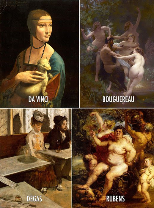 Paintings by Da Vinci, Bouguereau, Degas, Rubens