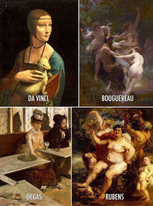 Paintings by Da Vinci, Bouguereau, Degas, Rubens