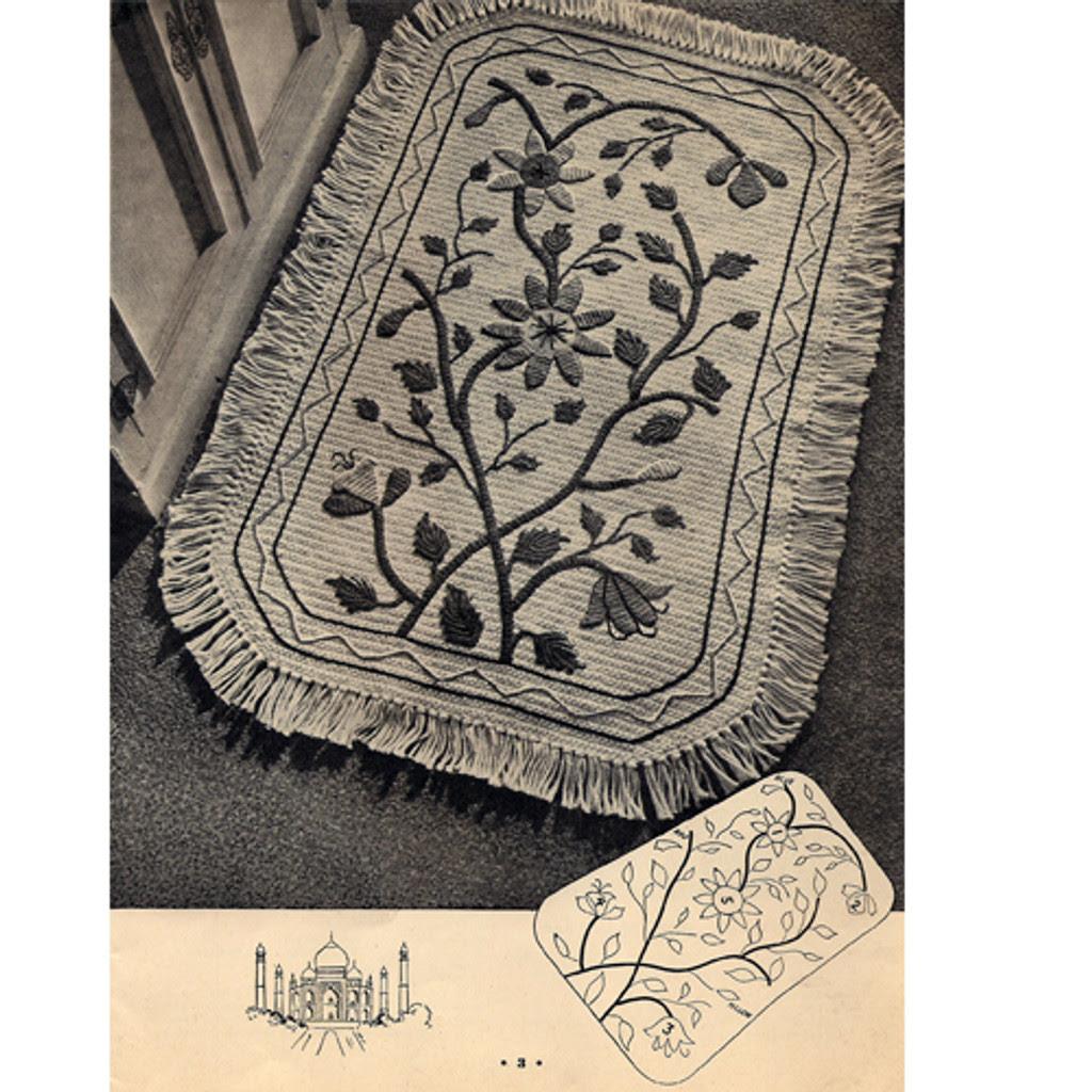vintage numdah crochet rug pattern, fringed