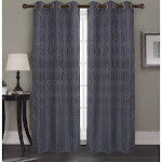 RT Designers Collection Oakley Jacquard 76 x 84 in. Grommet Curtain Panel Pair, (Set of 2), Navy