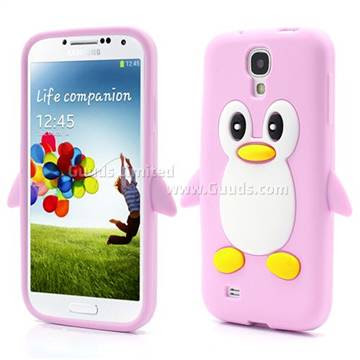 3D Penguin Soft Silicone Skin Case for Samsung Galaxy S 4 IV i9500 i9505 - Pink