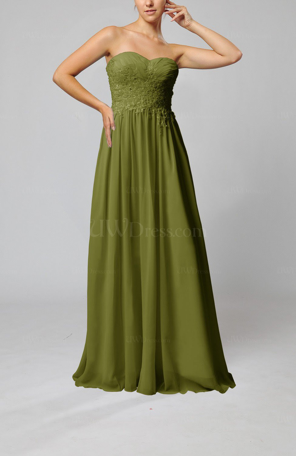 olive green elegant sleeveless zip up chiffon pleated