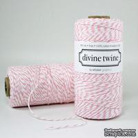 Хлопковый шнур от Divine Twine - Cotton Candy Pink, 1 мм, цвет розовый/белый, 1м - ScrapUA.com