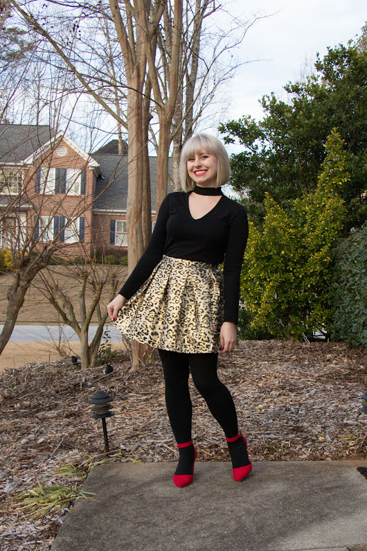Outfit: Metallic Leopard Print Skirt, Faux Choker Top, and Red Wedges