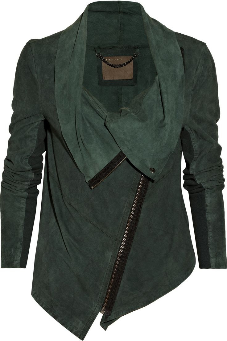 emerald leather moto jacket