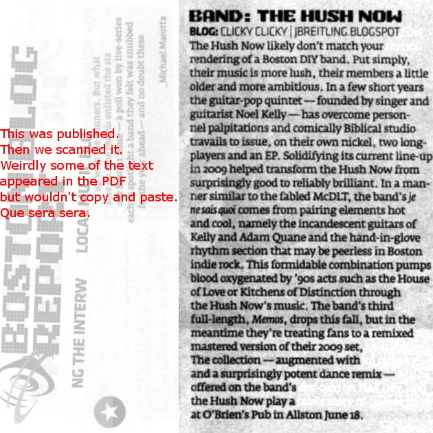 Hush Now piece in the Best of Music Issue of the Boston Phoenix, June 16, 2011