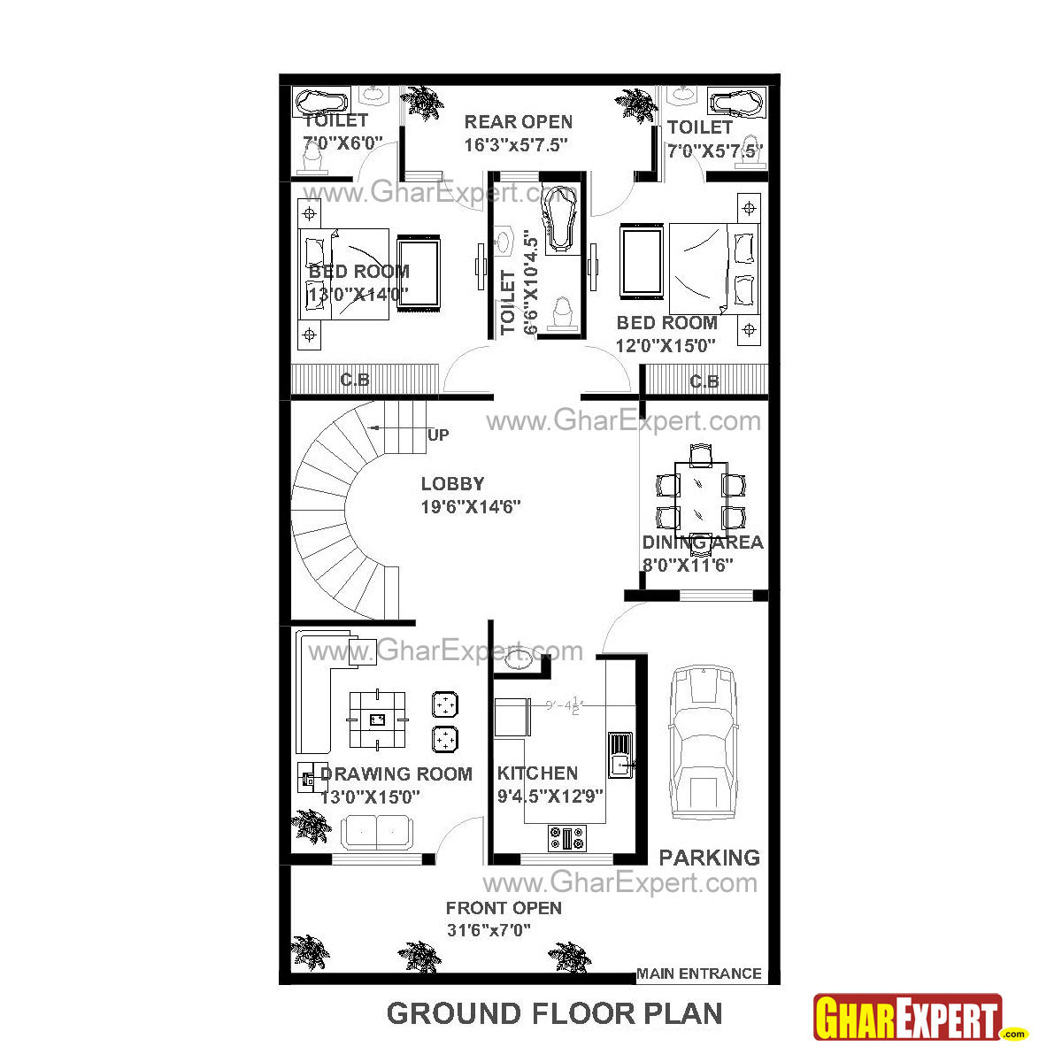 House Plan Of 30 Feet By 60 Feet Plot 1800 Squre Feet Built Area On