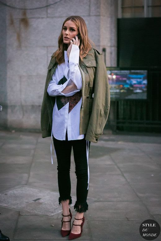 Le Fashion Blog Olivia Palermo Military Jacket White Button Down Fringe Jeans Maroon Heels LFW Via Style Du Monde
