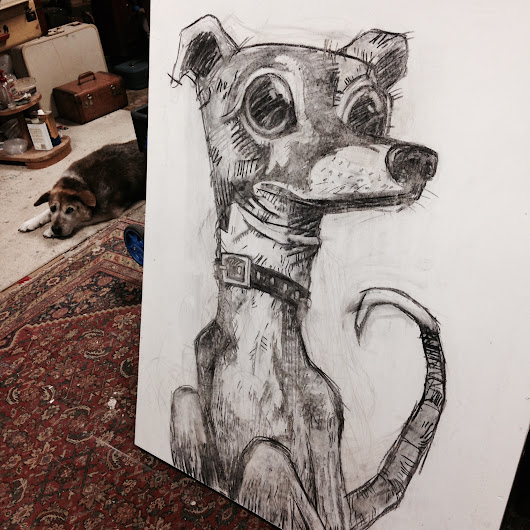 Whippet dog commission.