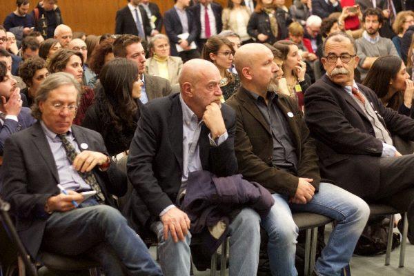 I tutor 2016 (da  sinistra in prima fila): Paolo Aleotti, Toni Capuozzo, Valerio Cataldi e Sandro Ruotolo | ph. F.Passi