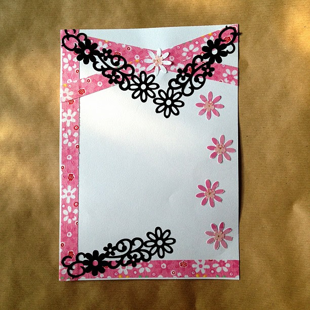 #border #tape #fabrictape #punches #shapes #flowers #pink #black