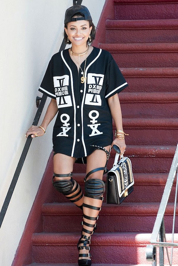 2 Kat Graham's West Hollywood Dime Piece Jersey and Haus von Lila Dogma Knee Pad Gladiator Sandals