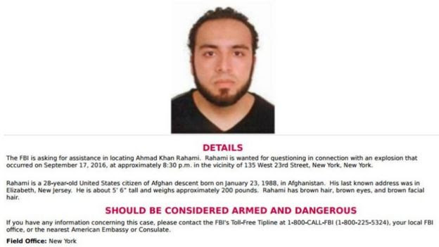 FBI poster on Ahmad Khan Rahami