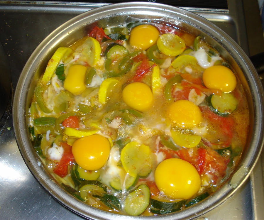16 Now break Eggs into the Vegetables