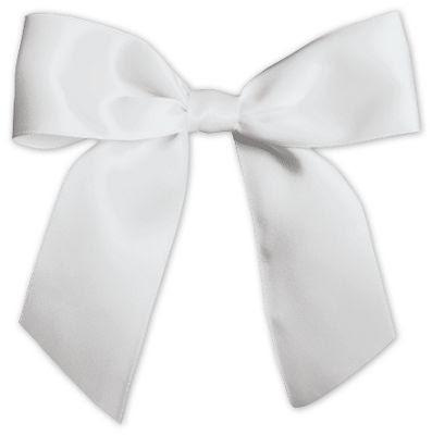 White Pre-Tied Satin Bows, 7/8' Ribbon x 3' Bow Width