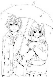 hd pages anime couple coloring drawing coloring pages