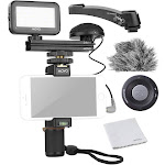Movo Smartphone Video Kit v3 with Grip Rig, Omnidirectional Microphone, LED Light & Wireless Remote - for iPhone 5, 5c, 5S, 6, 6s, 7, 8, x (Regular