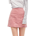 Free People Womens Femme Vegan Mini Skirt, Pink