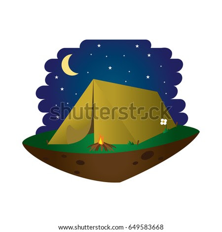 Camping Tend With Bon Fire Vector
