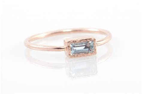 Aquamarine engagement ring in 14k rose gold, rectangular