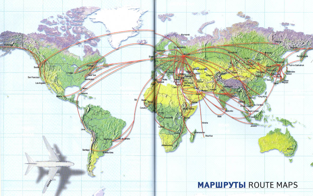 Aeroflot's old route network
