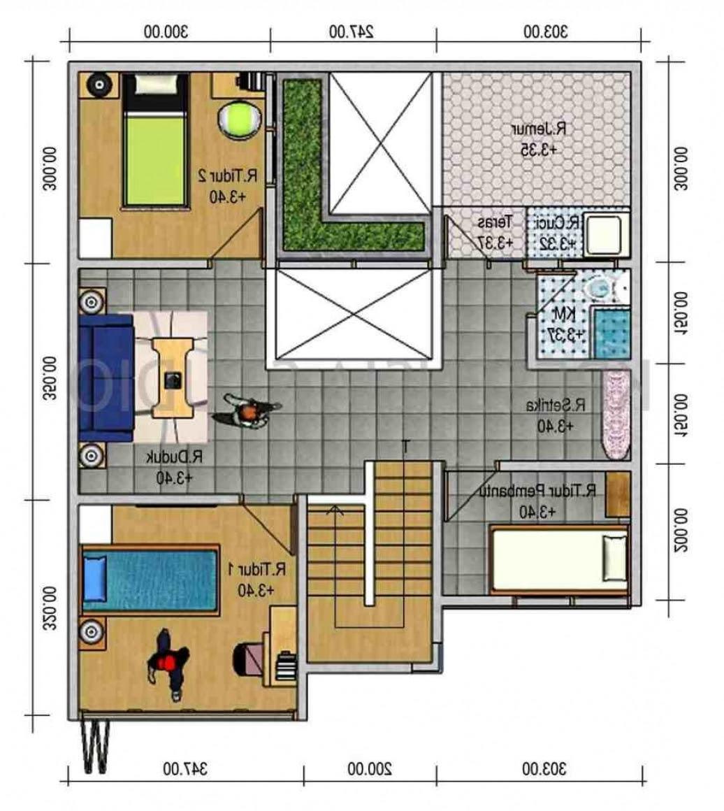 Denah Rumah Sederhana 3 Kamar Tidur Type 45 Di Denah Rumah
