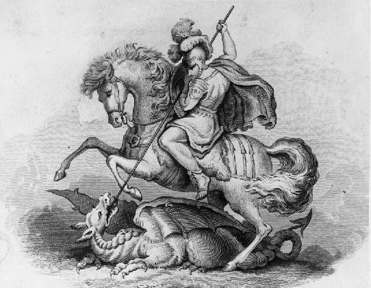 St George slaying the dragon, 19th century engraving