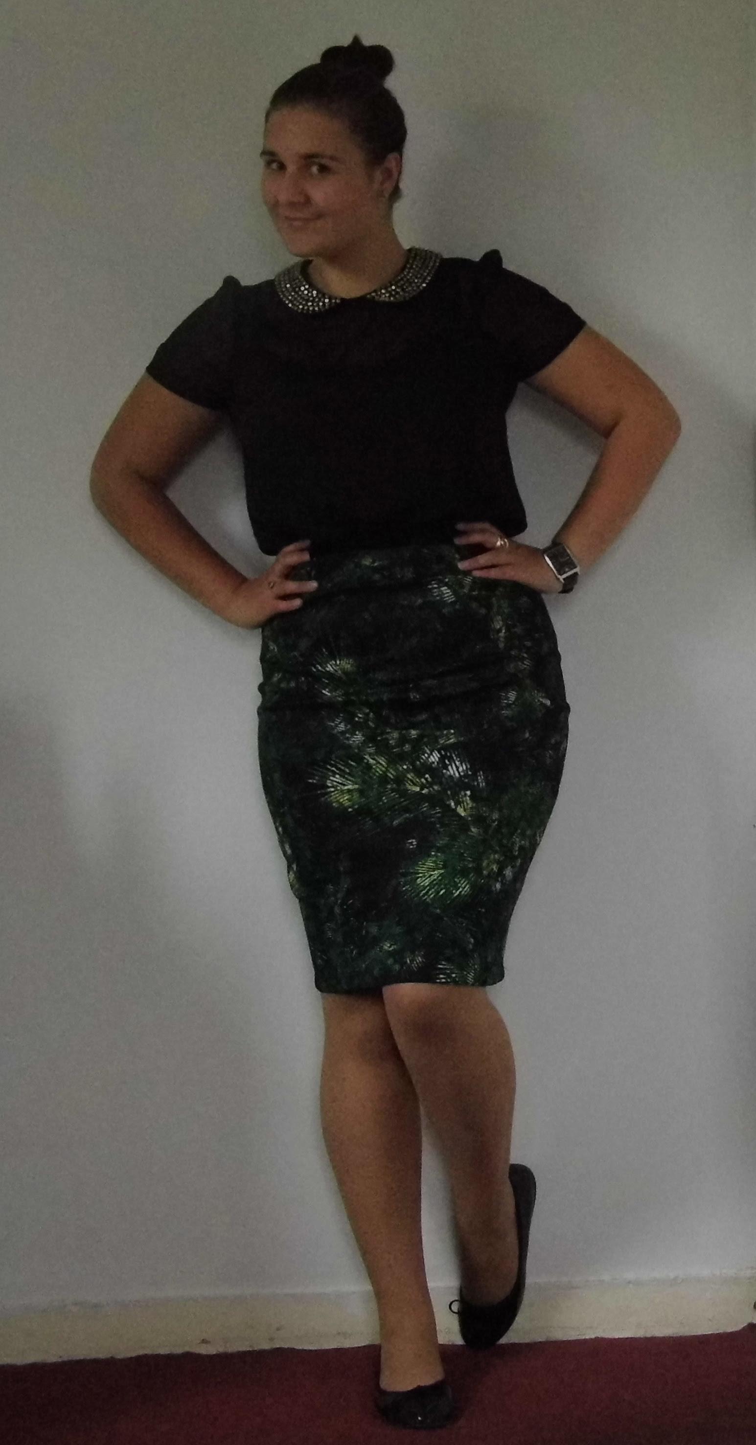 George Palm Print Skirt