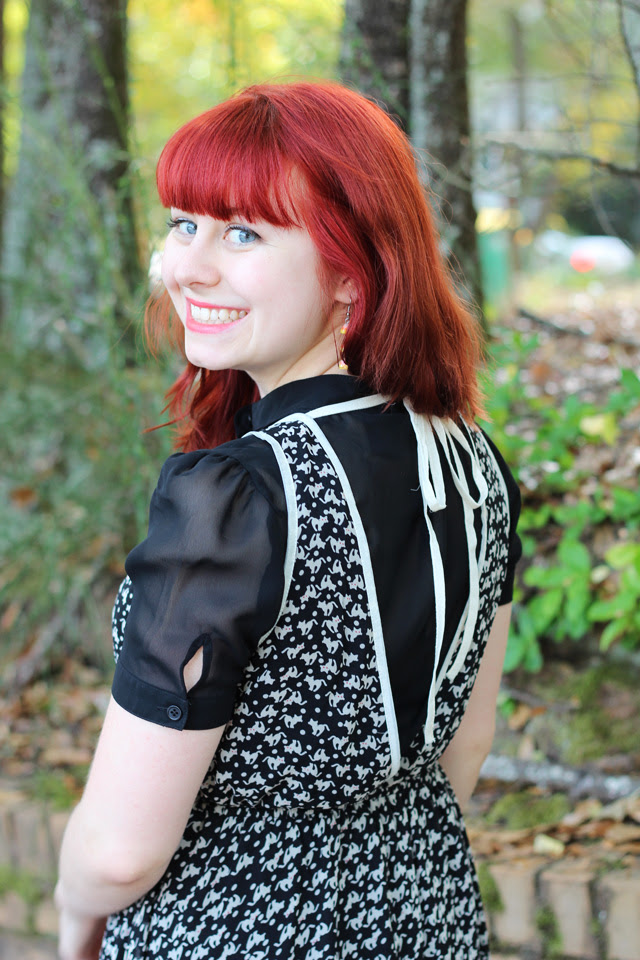 Backless Cat Print Dress and a Black Blouse