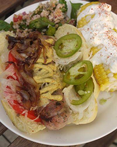 Newmarket style sausage, tomato, pickled fennel, jalapeño, caramelized onion, mustard.