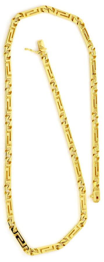 Foto 4, Designer Mäander Goldkette und Armband massiv Gelb-Gold, K2210