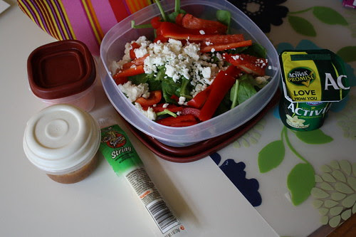 salad, carrots, string cheese, vanilla activia