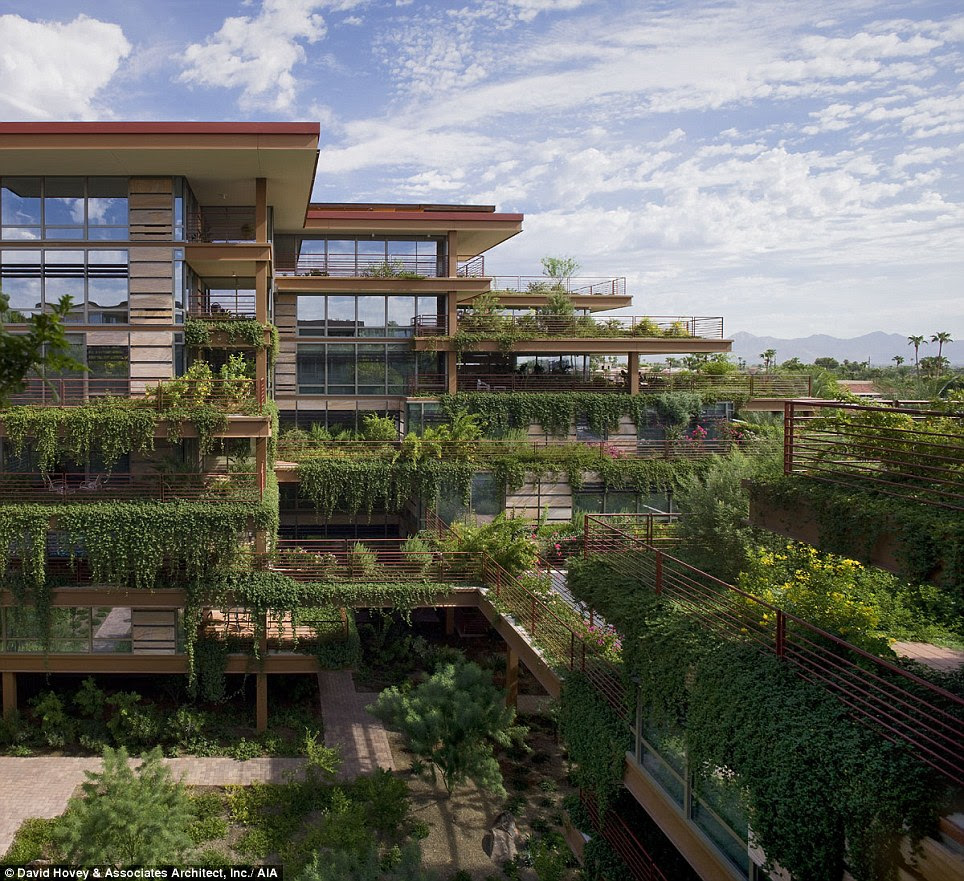 Otherwordly homestead: Optima Camelview Village is a 700-unit condominium development comprised of eleven buildings linked by bridges in Scottsdale, Arizona