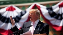Billionaire Donald Trump speaks to a crowd at the 2011 Palm Beach County Tax Day Tea Party on April 16, 2011 at Sanborn Square in Boca Raton, Florida.