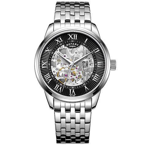 Rotary Men's Black Dial Stainless Steel Bracelet Watch   H