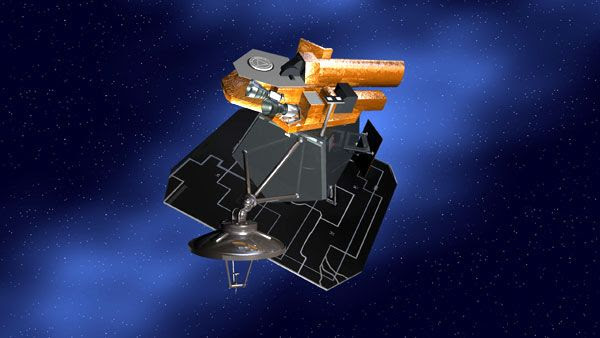 An artist's concept of the Deep Impact spacecraft.