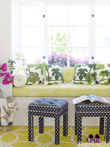 polka dot stools black and white citron yellow green decorating