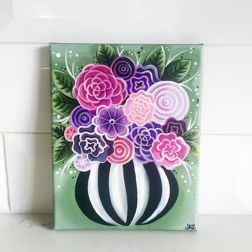 "Details about  ORIGINAL PAINTING ""Whimsical Flowers"" Canvas Art Modern Purple Floral Wall Jaz"