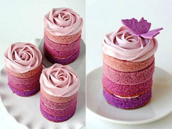 ombre mini wedding cakes