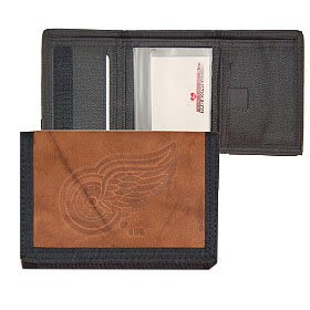 Detroit Red Wings Leather and Nylon Embossed Trifold Wallet