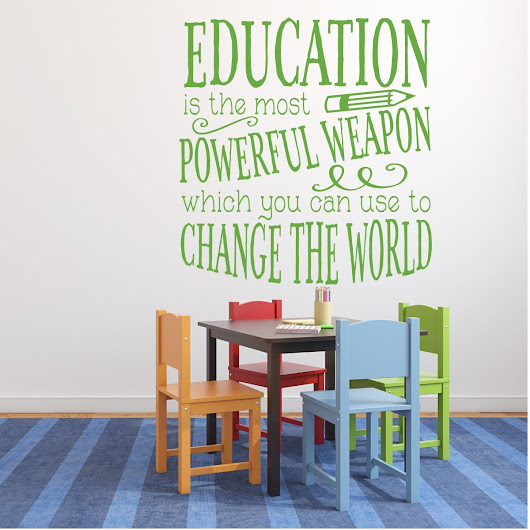 """Education is Powerful"" Quote Vinyl Sign For Classroom, Teachers"