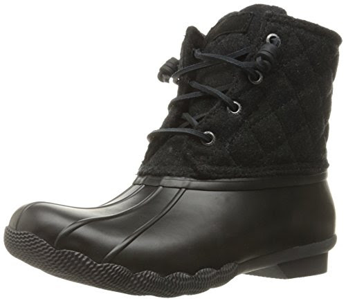 Sperry Top-Sider Women's Saltwater Quilted Wool Rain Boot, Black/Dark Grey, 9.5 M US